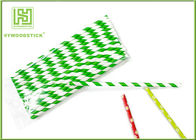 Eco - Friendly Bamboo Paper Straws , Birch Wood Design Green Decorative Paper Straws