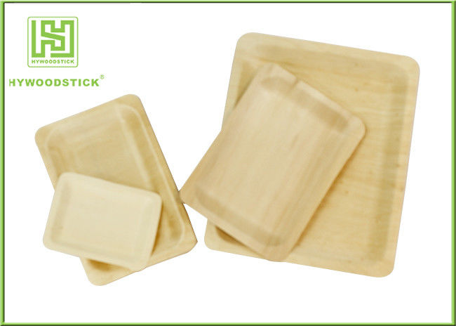 Customized Printed Disposable Wooden Plates Wooden Serving Trays For Hotel