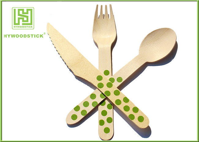 Packing Airline Disposable Wooden Eco Friendly Cutlery Set For Birthday Cake